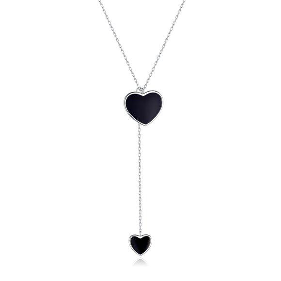 Colier din argint Black Enamel Heart