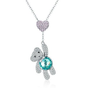 Colier din argint Blue Crystal Teddy