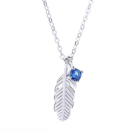 Colier din argint Blue Zircon Feather