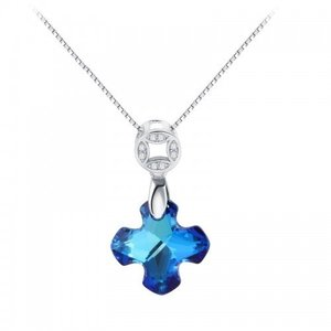 Colier din argint Crystal Blue Luck