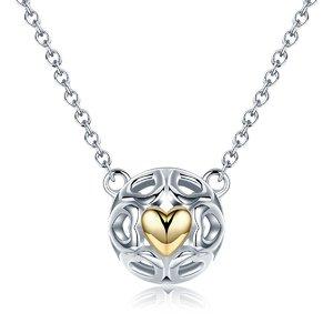 Colier din argint cu Inima Aurie