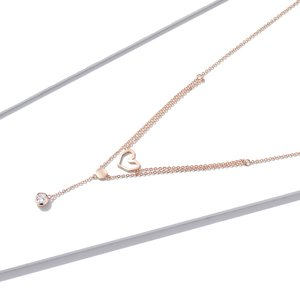 Colier din argint Double Layer Heart Chain