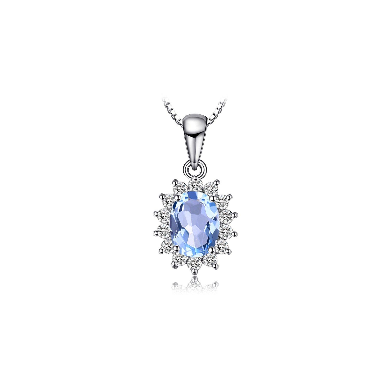 Colier din argint Elegant Light Blue Topaz poza 2021