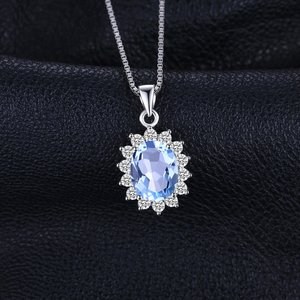 Colier din argint Elegant Light Blue Topaz
