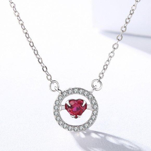 Colier din argint Fashion Diamond Heart Red
