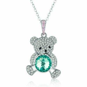 Colier din argint Green Crystal Teddy