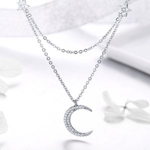 Colier din argint Moon and Stars Double Layers