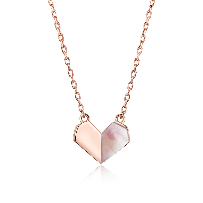 Colier din argint Rose Gold Paper Heart poza 2021