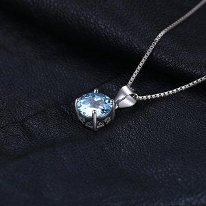 Colier din argint Round Blue Topaz