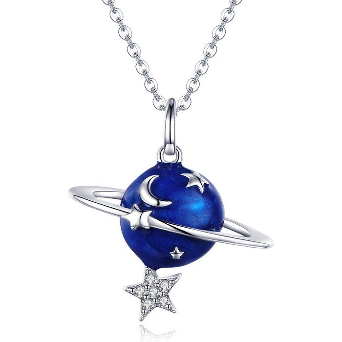 Colier din argint Silver Planet & Clear Star poza 2021