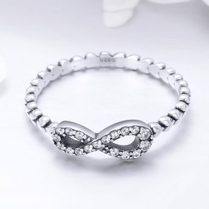 Inel din argint Crystal Infinite Hearts