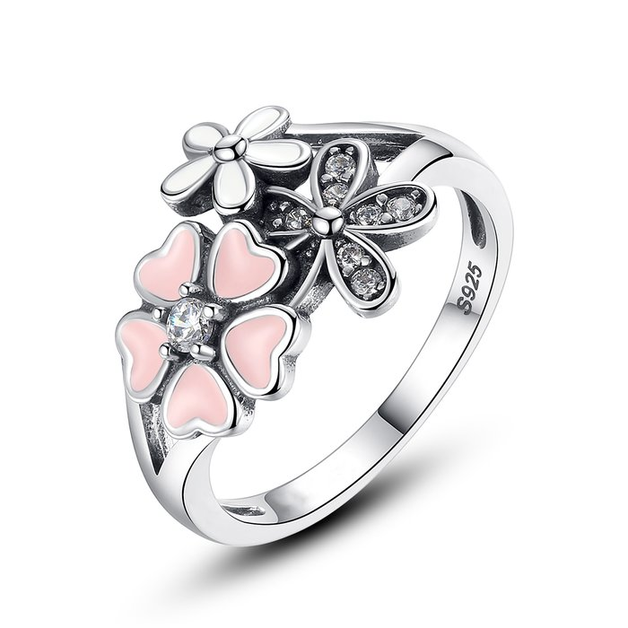 Inel din argint cu Flori Colorate poza 2021