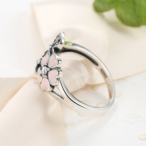 Inel din argint cu Flori Colorate