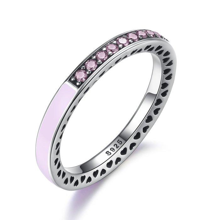 Inel din argint cu Inimi Decupate si Cristale Roz poza 2021
