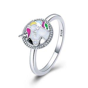 Inel din argint cu Unicorn Colorat