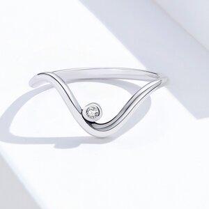 Inel din argint Diamond Wave