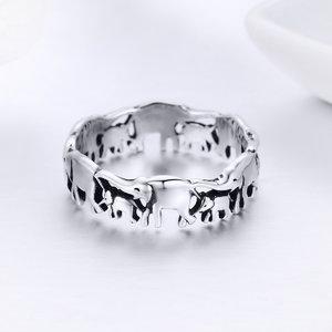 Inel din argint Elephant Family