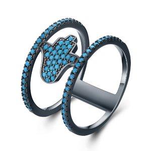 Inel din argint Fashion Black Hamsa