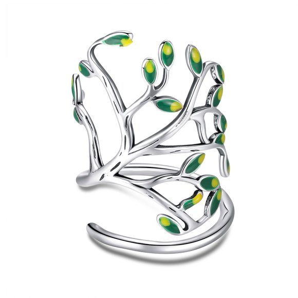 Inel din argint Fashion Green Tree