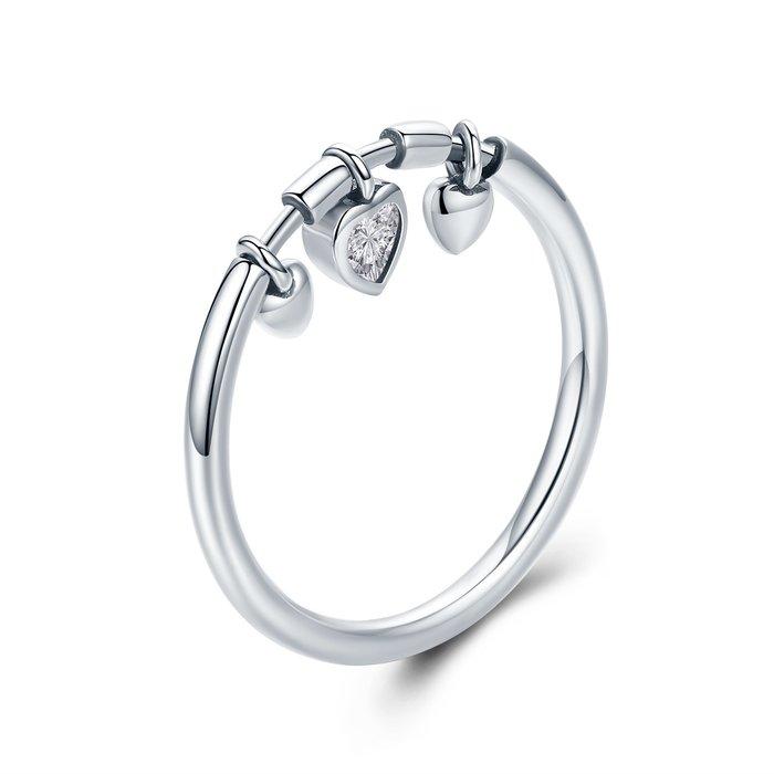 Inel din argint Glittering Hearts poza 2021