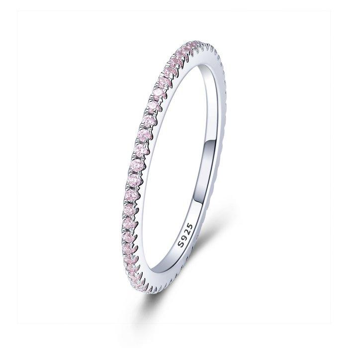 Inel din argint Pink Crystal Band poza 2021