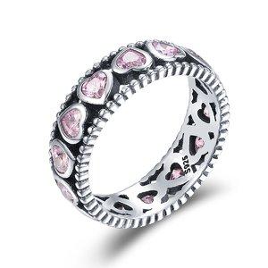 Inel din argint Radiant Pink Hearts