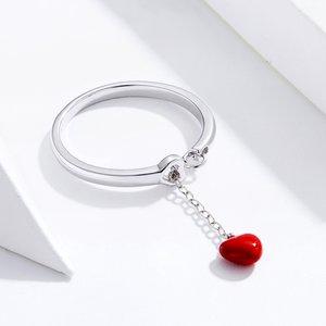 Inel din argint reglabil Red Heart Chain