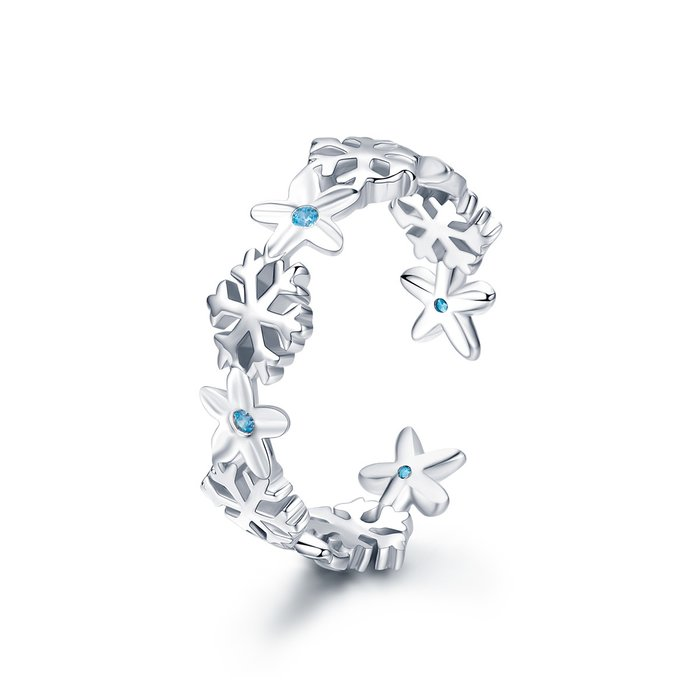 Inel din argint Snowflake and Flowers poza 2021