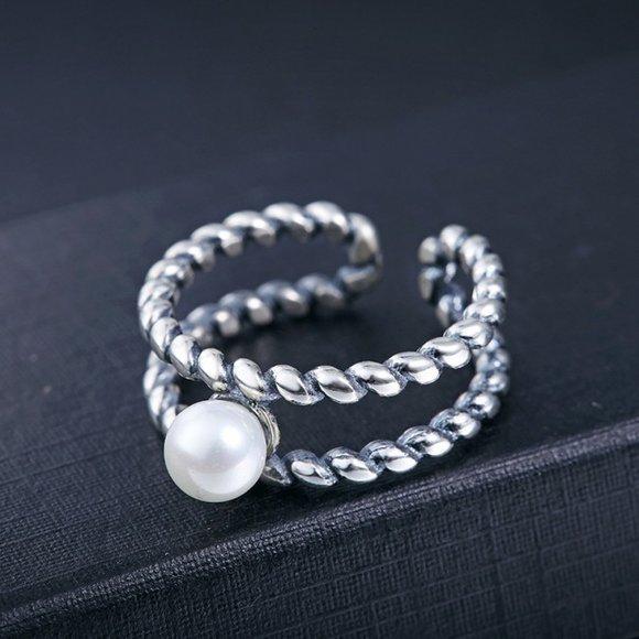 Inel reglabil din argint Twisted Simple Pearl
