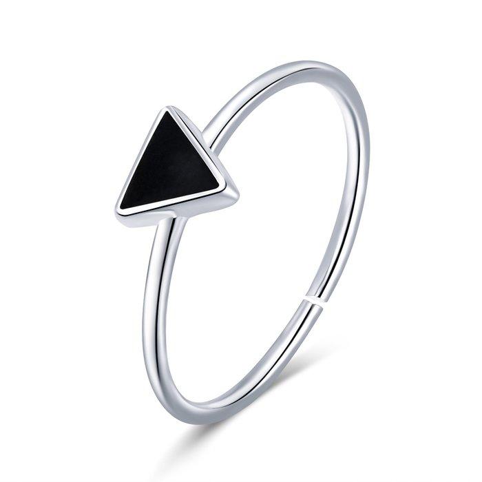 Inel reglabil din argint Black Triangle poza 2021