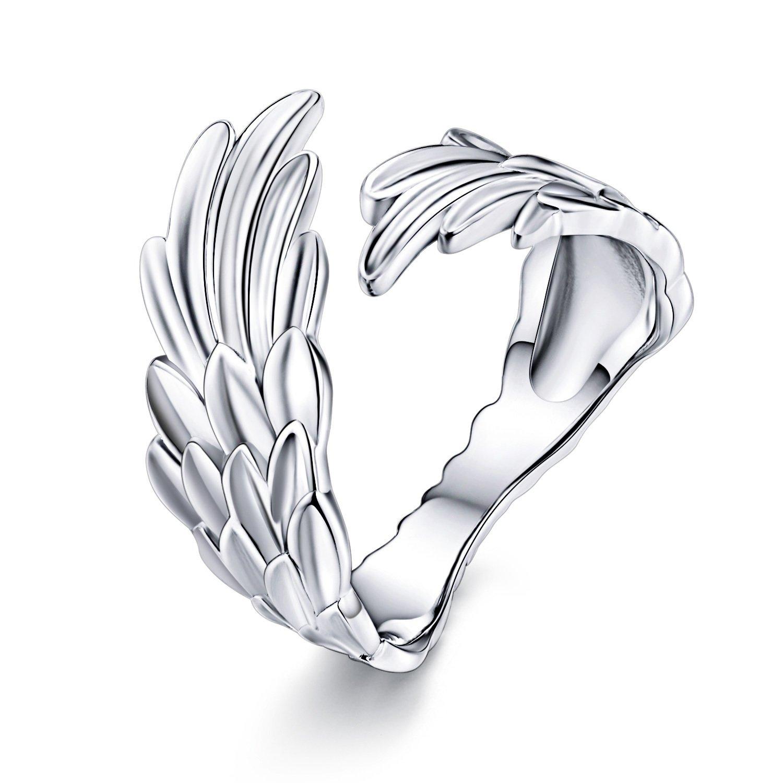 Inel reglabil din argint Guardian Feather poza 2021