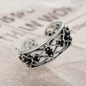 Inel reglabil din argint Masiv cu Cristale Negre