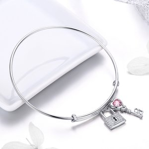 Lock and Heart Key Bangle