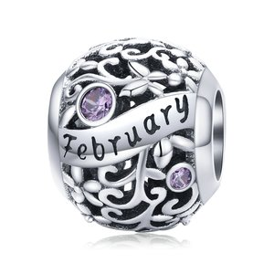 Talisman din argint Birthday Stone February