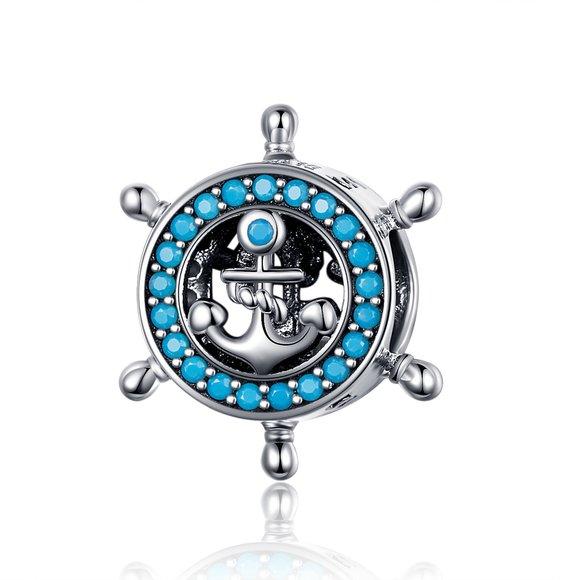 Talisman din argint Blue Anchor Wheel