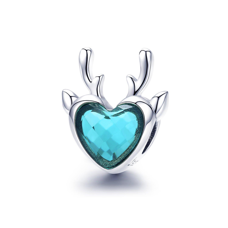 Talisman din argint Blue Crystal Elk poza 2021