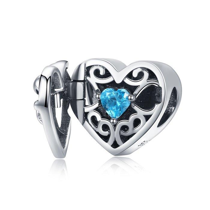 Talisman din argint Blue Heart Locket poza 2021