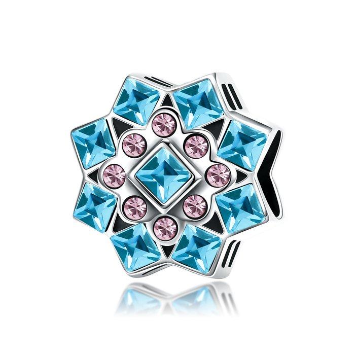 Talisman din argint Blue Snowflake poza 2021