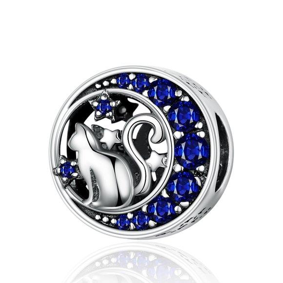 Talisman din argint Cat and Stars