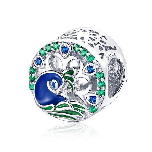 Talisman din argint Colorful Peacock