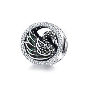 Talisman din argint Crystal Black Swan