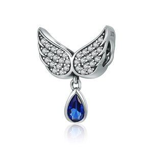 Talisman din argint cu Aripi si Cristal Albastru