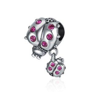 Talisman din argint cu Buburuze si Cristale roz