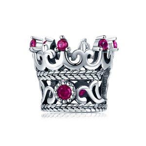 Talisman din argint cu Coroana si Cristale Fuchsia