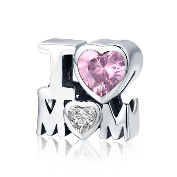 Talisman din argint cu cristal roz I Love Mom