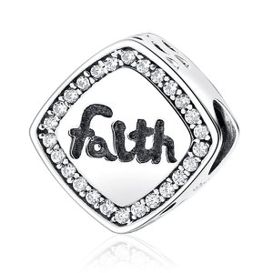 Talisman din argint cu Cristale si Credinta