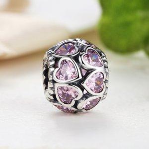 Talisman din argint cu cristale si Inimi Roz