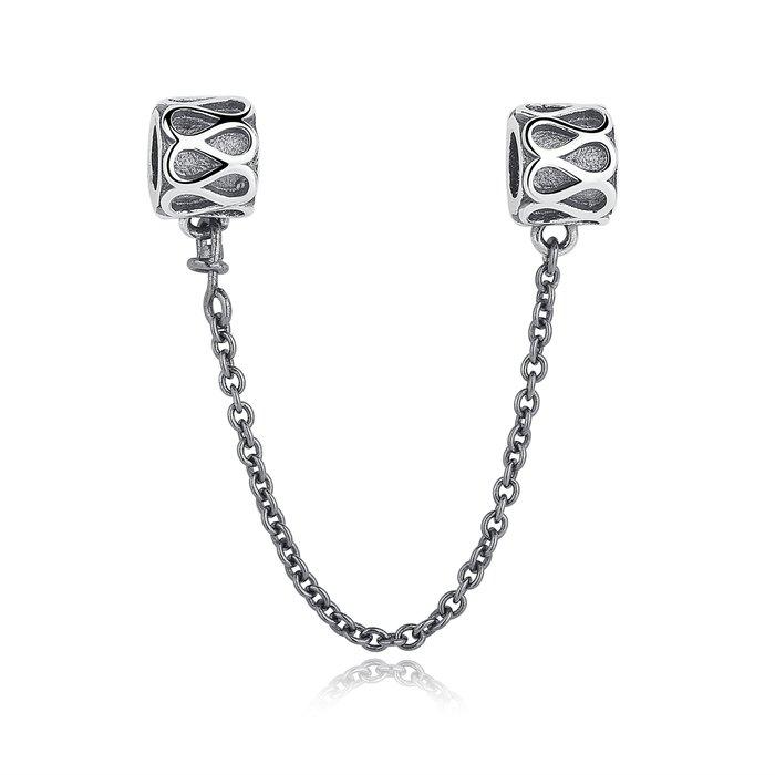 Talisman din argint cu Elemente Gravate si Lantisor pentru Siguranta