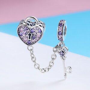 Talisman din argint cu Inima, Cheie si Lantisor de Siguranta