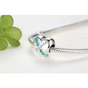 Talisman din argint cu Inima si Cristale Albastre